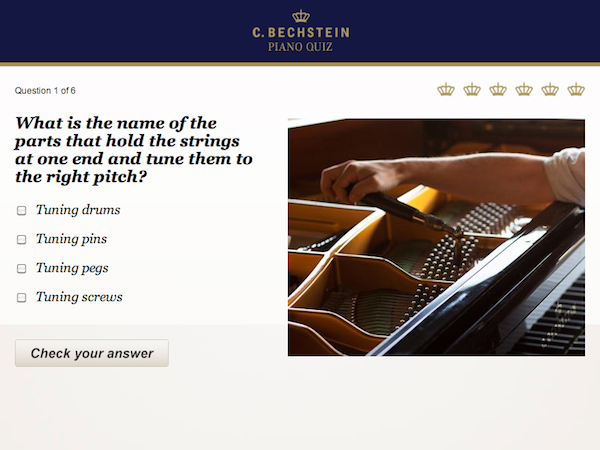 Screenshot: Bechstein Piano Quiz auf Facebok