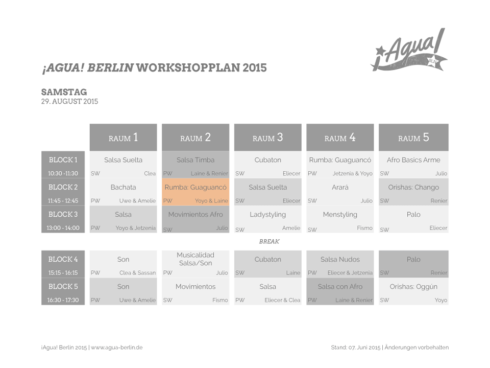 ¡Agua! Berlin Workshopplan 2015 Samstag